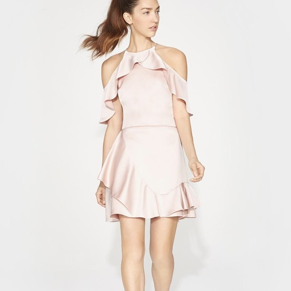 Halston Heritage Dresses & Skirts - Flouncy Cold-Shoulder Halter Mini Dress